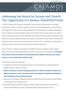 Addressing the Search for Income and Growth: The Opportunity of Calamos Closed-End Funds